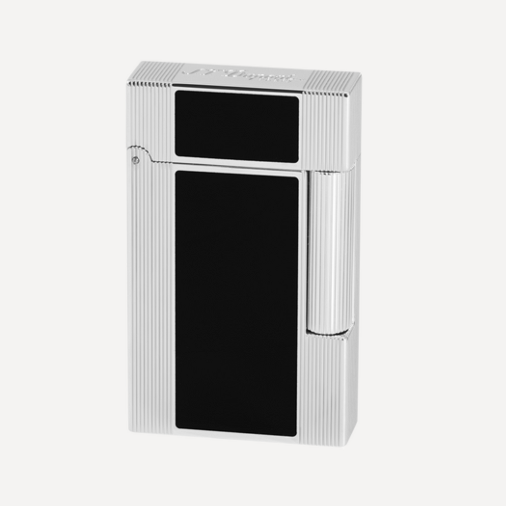 S.T. Dupont Line 2 Windsor PALLADIUM and BLACK LACQUER Soft Flame Lighter 016380