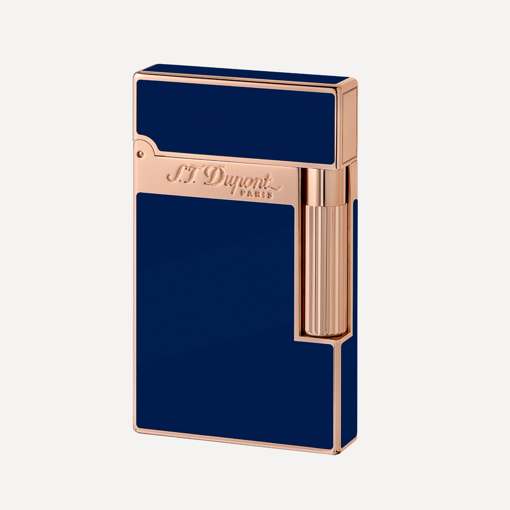 S.T. Dupont Line 2 BLUE LACQUER and PINK GOLD Finish Natural Lacquer Soft Flame Lighter 016496