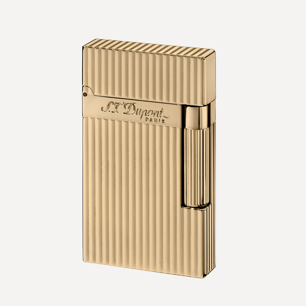 S.T. Dupont Line 2 VERTICAL LINES Yellow Gold Finish Soft Flame Lighter 016827