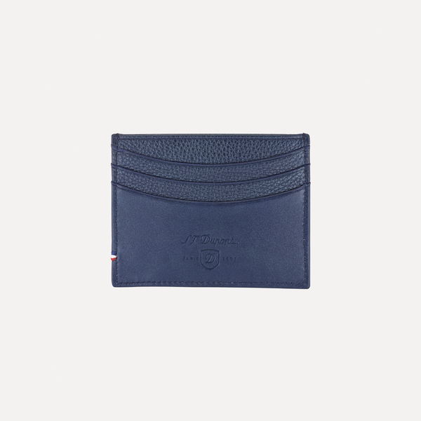 S.T. Dupont Credit Card Holder, Line D Soft Diamond Grained Navy Blue Leather 180271