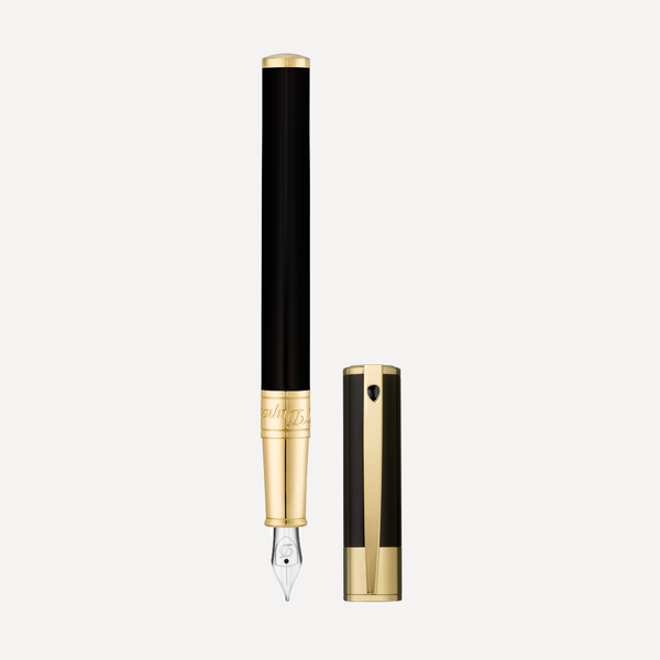 S.T. Dupont Fountain Pen D-Initial Black-Gold 260205