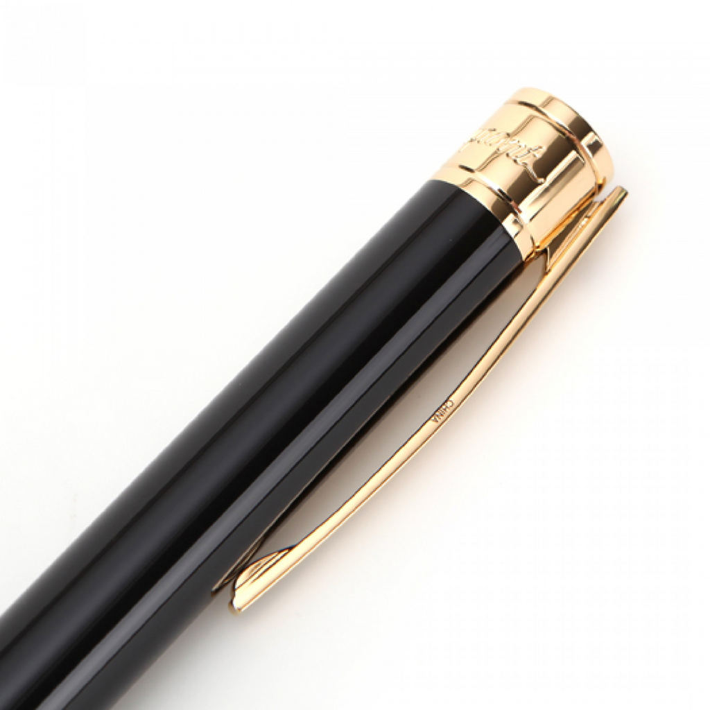 S.T. Dupont D-Initial Yellow Gold Finish Black Ballpoint Pen 265202
