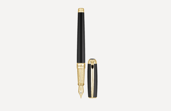 S.T. Dupont Line D Black & Yellow Gold Fountain Pen 410101L