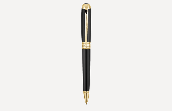 S.T. Dupont Line D Black & Yellow Gold Ballpoint Pen 415101L