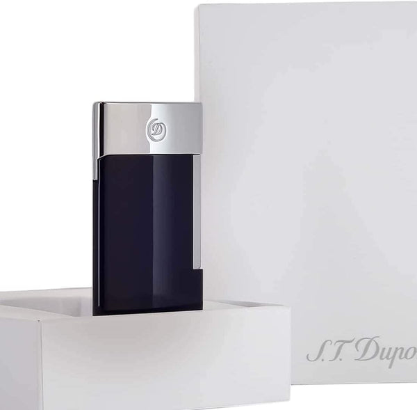 S.T. Dupont E-Slim Brushed Chrome and Blue  Electric Lighter 27008E