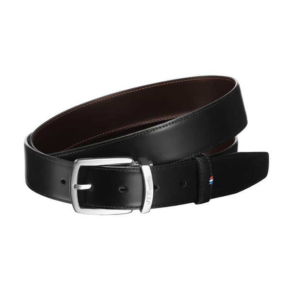 S.T. Dupont Belt Ceinture Delta Box Black and Brown 35 mm
