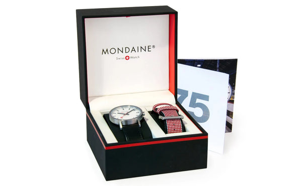 Mondaine CLASSIC 75 YEARS ANNIVERSARY SET 30mm, black leather watch, A658.30323.75SET