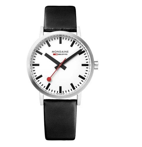 Mondaine Classic, black leather watch, 36mm, A660.30314.16SBB