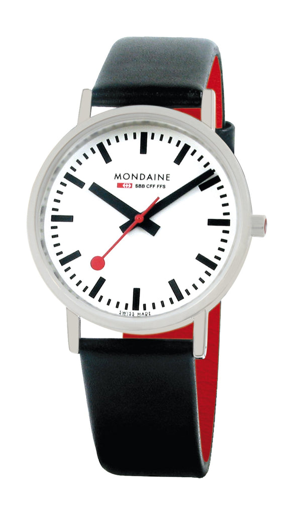 Mondaine Classic, black leather watch, 36mm, A660.30314.11SBB