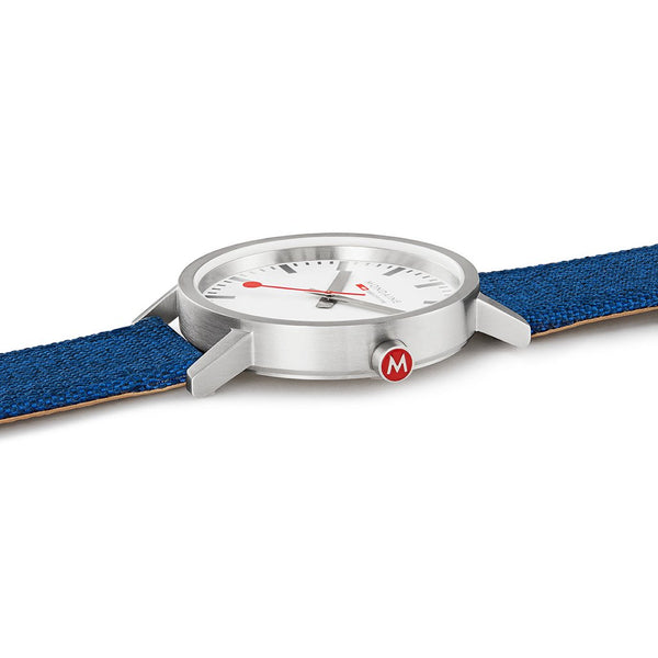 Mondaine Classic 40mm Navy-Blue Textile Watch A660.30360.17SBD