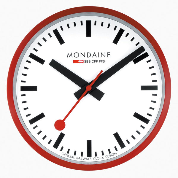 Mondaine Wall Clock Red Frame 25 cm A990.CLOCK.11SBC