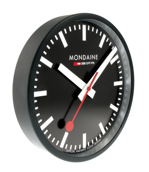 Mondaine Wall Clock Black Frame 25 cm A990.CLOCK.64SBB