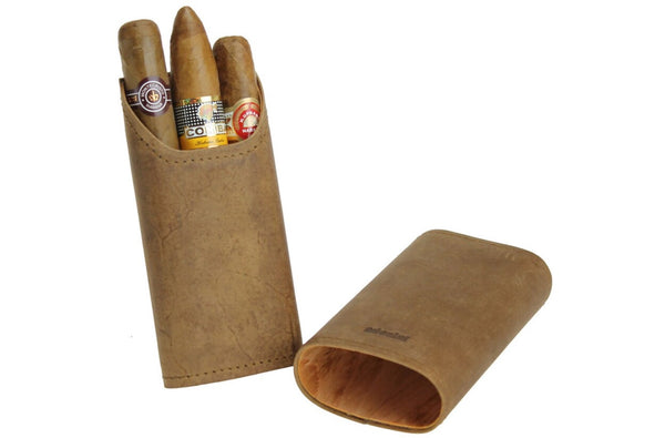Adorini Cigar Case real leather 2-3 cigars Brown