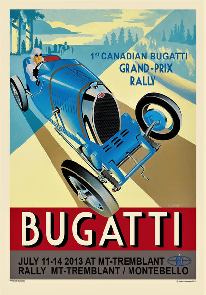 Alain Levesque Limited Edition Signed Poster Bugatti Canadian Grand Prix