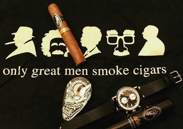 ONLY GREAT MEN SMOKE CIGARS - BLACK T-SHIRT