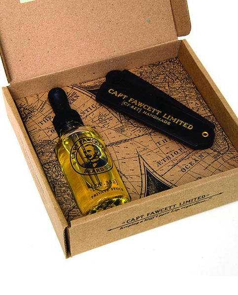 Captain Fawcett's Beard Oil & Folding Pocket Beard Comb Gift Set