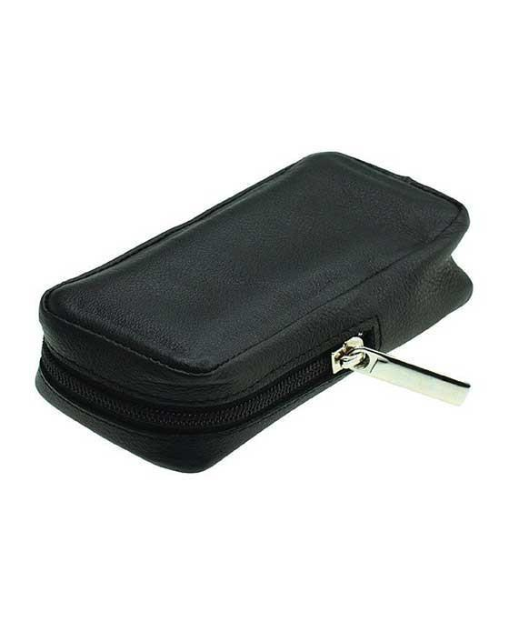 Merkur Zippered Leather Case For Safety Razors, Black