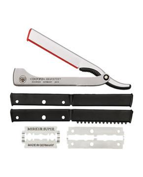 DOVO Shavette Replaceable Blade Straight Razor Silver Aluminum Handle