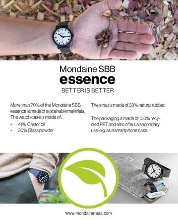 MONDAINE essence, 41mm, vegan sustainable watch, MS1.41111.LC