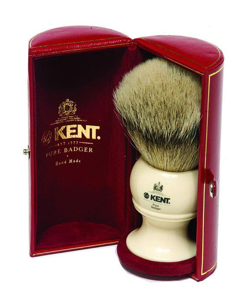 Kent Shaving Brush, Pure Silver Tip Badger, King Size Ivory