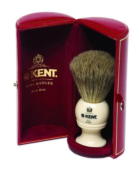 Kent Shaving Brush, Pure Grey Badger, Medium Ivory