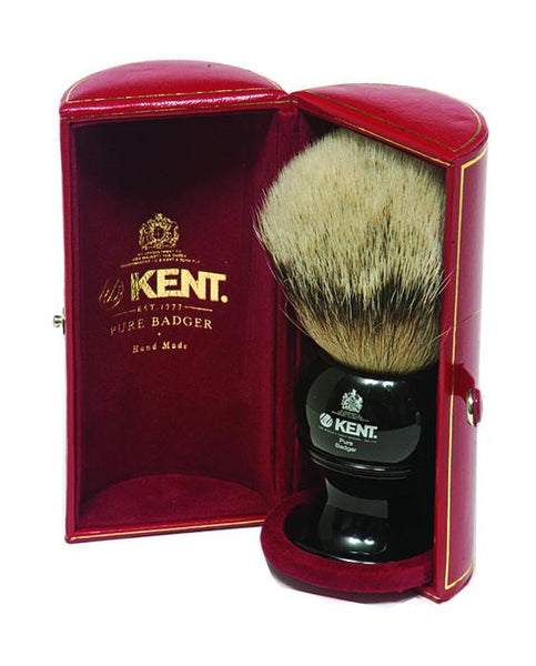 Kent Shaving Brush, Pure Silver Tip Badger, King Size Black