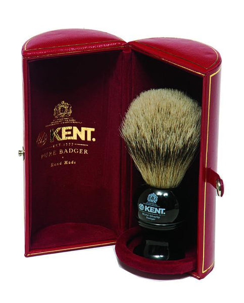 Kent Shaving Brush, Pure Silver Tip Badger, Medium Black