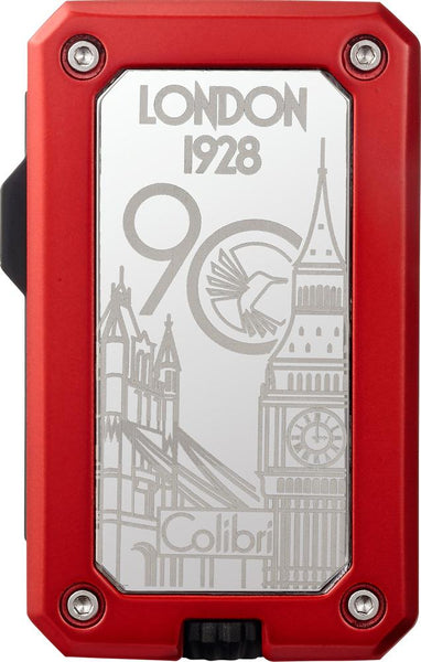 Colibri 90 Year Anniversary Rally Gunmetal and Red Torch Lighter