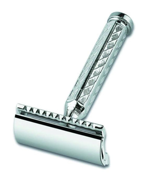 Merkur 42C Double Edge Safety Razor, Straight Cut, Chrome-Plated, Etched Handle