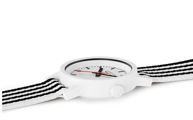 Mondaine essence, 32mm, black and white sustainable watch MS1.32110.LA