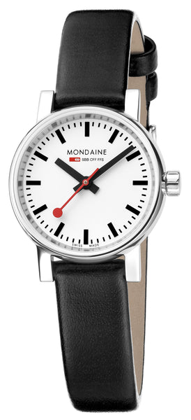 MONDAINE evo2, 26mm, black leather watch, MSE.26110.LB