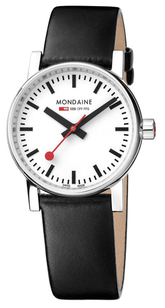 MONDAINE evo2, 30mm, black leather watch for women, MSE.30110.LB