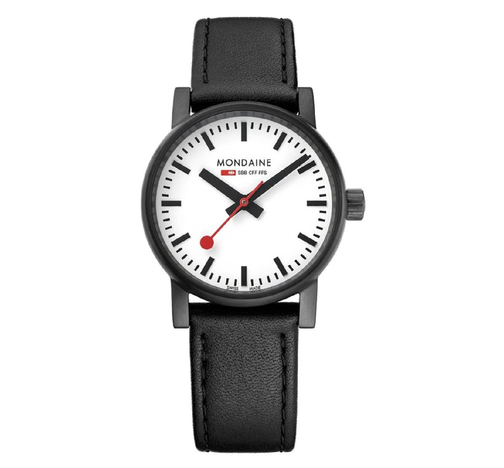 MONDAINE EVO2 30mm, black leather watch for women, MSE.30111.LB