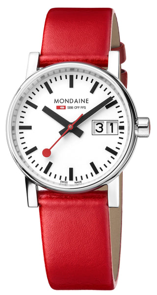 MONDAINE evo2, 30mm, red leather watch, MSE.30210.LC