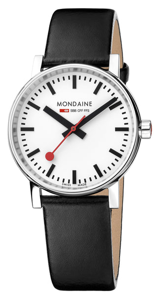 MONDAINE evo2, 35mm, black leather watch, MSE.35110.LB