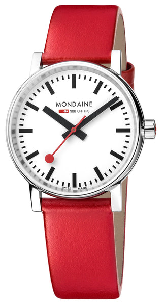 MONDAINE evo2, 35mm, red leather watch, MSE.35110.LC