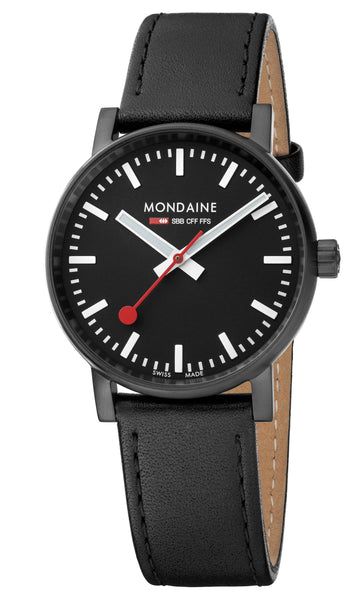 MONDAINE evo2, 35mm, black leather watch, MSE.35121.LB