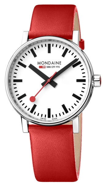 MONDAINE evo2, 40mm, red leather watch, MSE.40110.LC