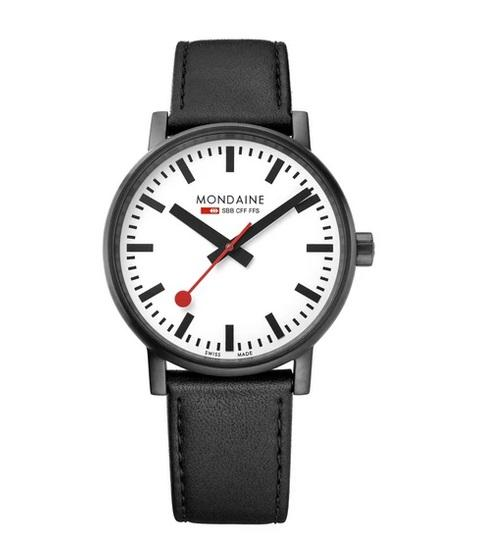 MONDAINE evo2, 40mm, black leather watch, MSE.40111.LB