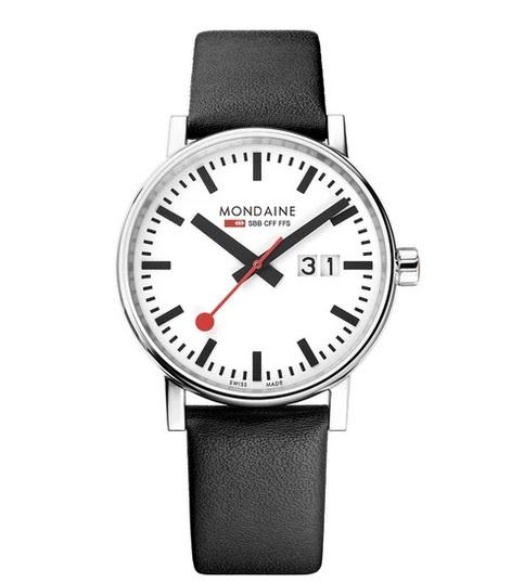 MONDAINE evo2, 40mm, black leather watch, MSE.40210.LB