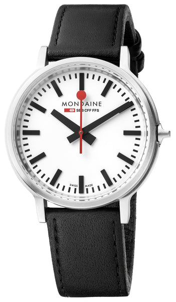 MONDAINE Stop2Go, 41mm, black leather watch, MST.4101B.LB