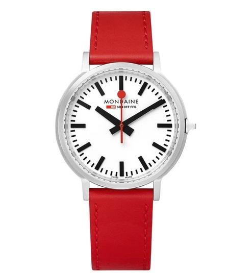 MONDAINE Stop2Go, 41mm, red leather watch, MST.4101B.LC