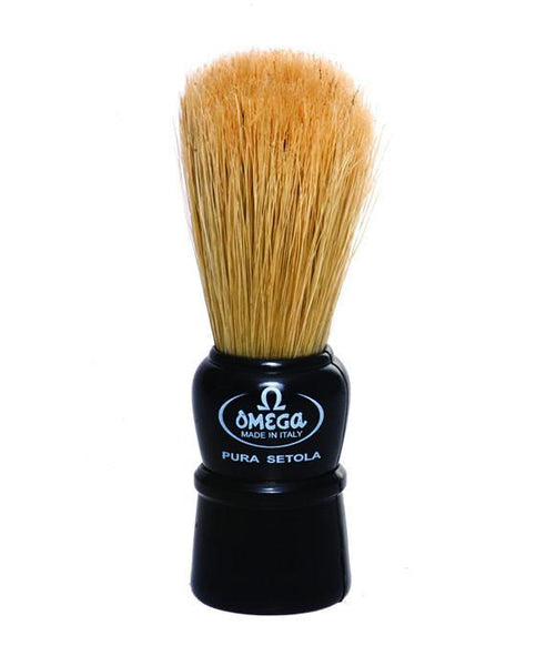 Omega 100% Boar Bristle Shaving Brush, Plastic handle, Natural