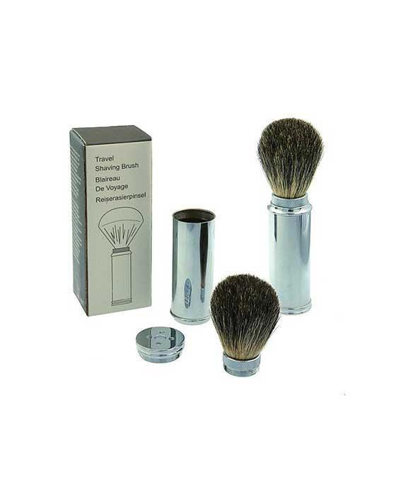 PureBadger Collection Travel Shave Brush, Brass with Badger Hair