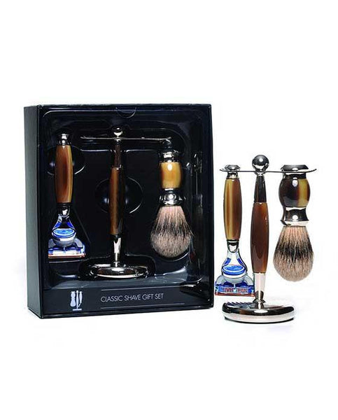 PureBadger Collection Brown 3pc Shaving Set, Faux Horn Silvertip Shaving Brush, Fusion Razor & Stand