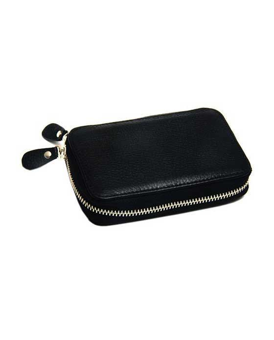 PureBadger Collection Univeral Black Pebble Leather DE Safety Razor Case, With Nubuck Lining