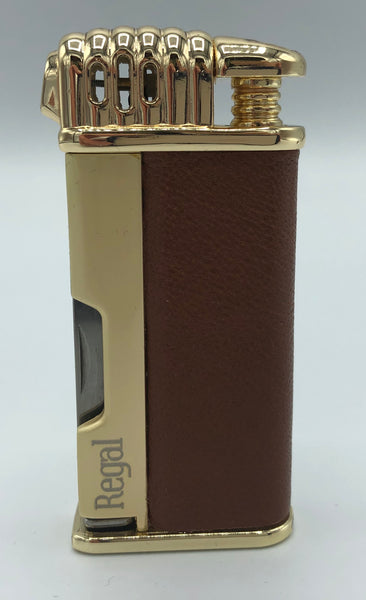 Regal Pipe Lighter - Gold and Brown Leather