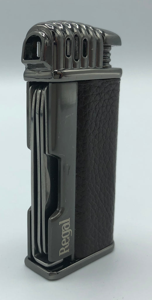Regal Pipe Lighter - Gun Metal and Brown Leather