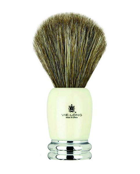 Vie-Long Shaving Brush, Brown Horse Hair Acrylic & Metal, Ivory & Silver