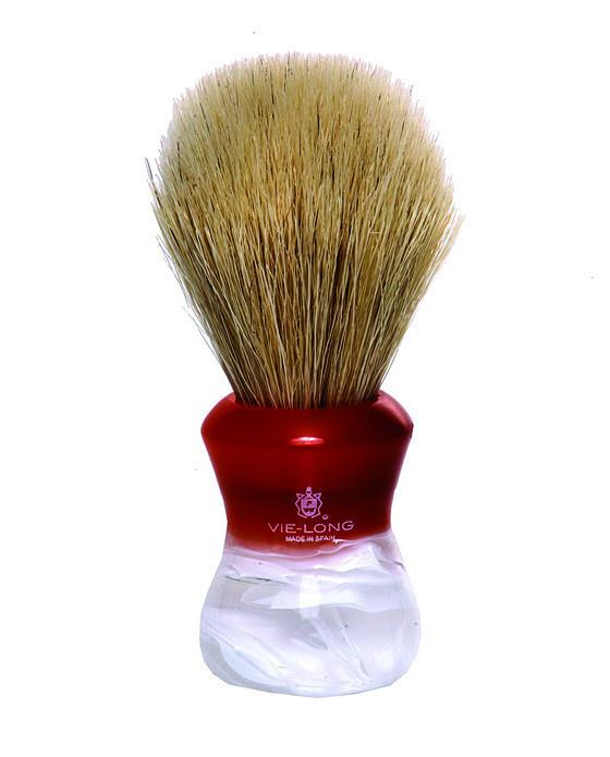 Vie-Long Horse Hair Shaving Brush, Red/White Acrylic Handle